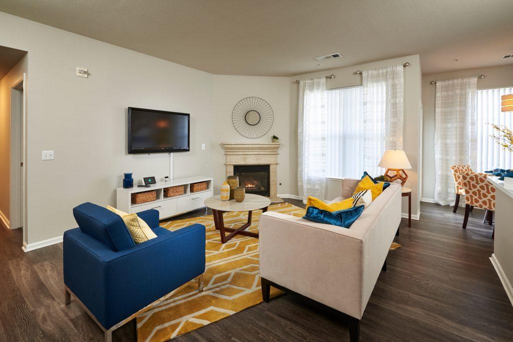 Spacious living room at Bear Valley Park in Denver, Colorado